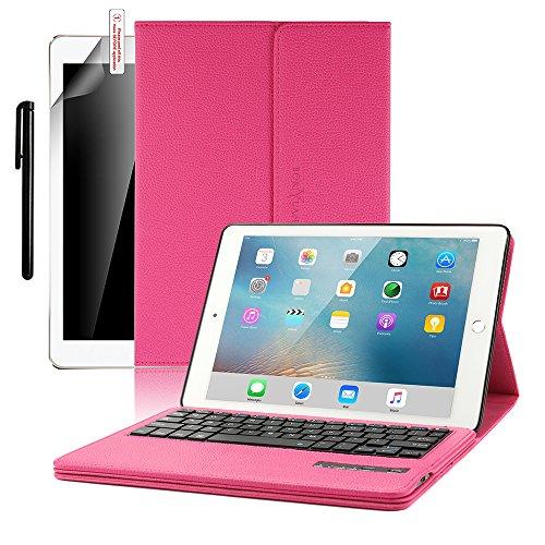 IPad Pro 10.5 Bluetooth Tastatur Hülle, Boriyuan Kunstleder Hülle mit 7 Farben hinterleuchtet abnehmbare Wireless Bluetooth Tastatur(QWERTZ Tastatur) für Neu Apple iPad Pro 10.5 - (Rot) (Ipad Und Das Wireless Keyboard Case)