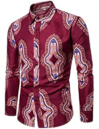 Ronamick - Blusa para Hombre, diseño Floral, Manga Larga, ...