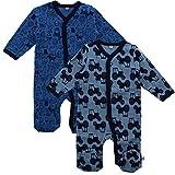 Pippi 2er Pack Baby Jungen Schlafstrampler mit Aufdruck, Langarm mit Füßen, Alter 9-12 Monate, Größe: 80, Farbe: Blau, 3821