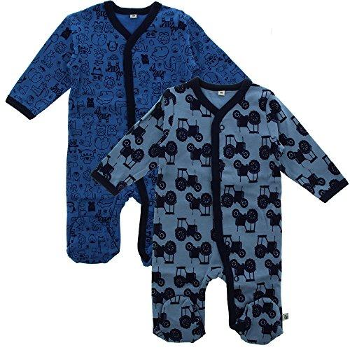 Pippi 2er Pack Baby Jungen Schlafstrampler mit Aufdruck, Langarm mit Füßen, Alter 2-4 Monate, Größe: 62, Farbe: Blau, 3821