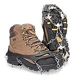 Deyard Traction Stollen Ice Snow Grips Unisex Anti Slip Schuhe mit 19 Spikes zum Laufen, Joggen, Klettern und Wandern auf Schnee und EIS (Medium(34-40))
