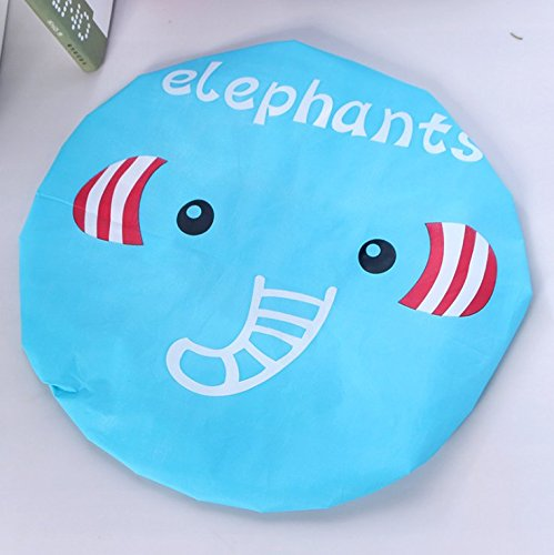 Heelinna Hermosa Patrón de Elefante Acolchado Impermeable Gorro de Ducha Sombrero de baño Gorra de Pelo