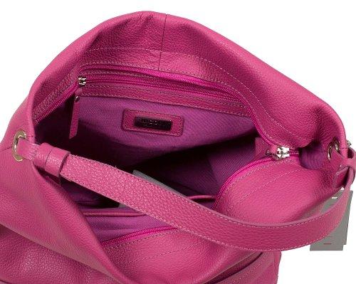 NICOLI Sac à bandoulière en cuir souple fabriqué en Italie (30x30x15 cm) Pink (Fuchsia)
