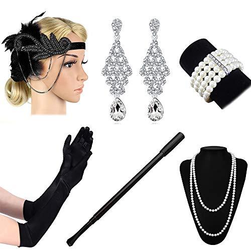 Stirnband Zubehör Kostüm Flapper - Lukovee 1920er Jahre Zubehör Set Flapper Kostüm Stirnband Handschuhe Zigarettenspitze Halskette Frauen