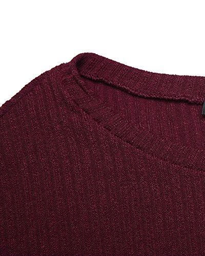 ACHIOOWA Damen Oversize Shirt Herbst Casual Schulterfrei Jumper Unregelmäßigen Stretch Tops mit Tasche Weinrot