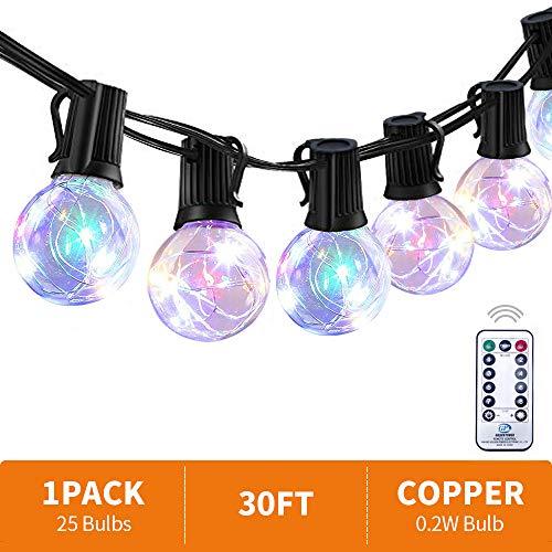 EDYSAN G40 LED Lichterkette Gluehbirne Aussen, 30 FT Wasserdicht mehrfarbiges Lichter Innen IP44 mit fernbedienung und 25 Glühbirnen fünf Farben Licht  für Garten Terrasse Hochzeit Party usw -