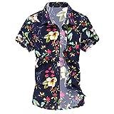 Cloudstyle Herren Urlaub Strand Hawaii Blattaufdruck-Hemd (Medium, 666rot)