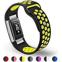 Fitbit Charge 2 Cinturino, Kutop Morbido Sportivo di Ricambio in Silicone Banda Accessori regolabile Braccialetto gel fitness in gel di silice per Fitbit Charge 2 Smartwatch,Nero+verde