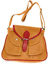 H&V Synthetic Leather Stylish Brown/Red Sling Bag (L - 8 Inch X B -3.5 Inch X H - 7.5 Inch)