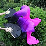 Belly Dance Real Silk Dyeing Fan Bamboo Ribs Rendimiento Hecho A Mano Entrenamiento Profesional Elastic Vibrant Purple Black 1.8M Long L + R,L+R(1.8M)