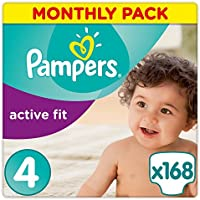 Pampers Active Fit 168 Nappies with Absorbing Channels, 8 - 16 kg, Size 4