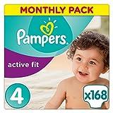 Pampers Active Fit Premium Protection, 168 Pannolini, Taglia 4 (8-16kg)