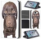 Samsung Galaxy S6 G920 Hülle von CoverHeld Premium Flipcover Schutzhülle S6 G920 aus Kunstleder Flip Case Motiv (358 Hund Braun mit Brille)