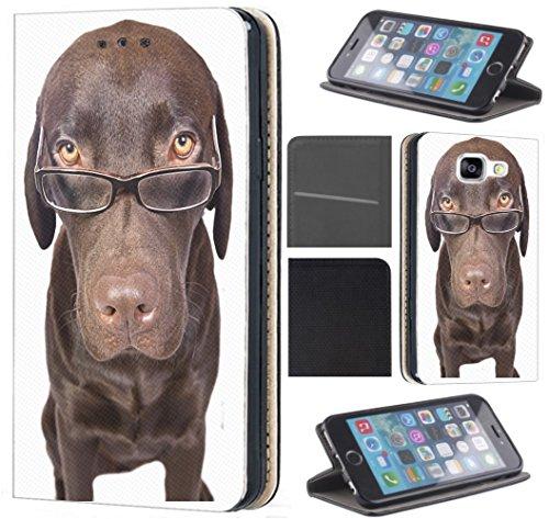 Samsung Galaxy A5 2017 A520 Hülle von CoverHeld Premium Flipcover Schutzhülle Flip Case Motiv (358 Hund Braun mit Brille)