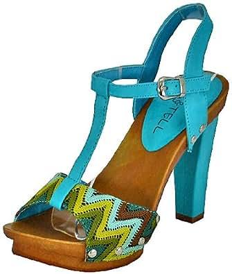 Kiss & Tell Qiana-03 Blue Women Platform Sandals, 8 M UK