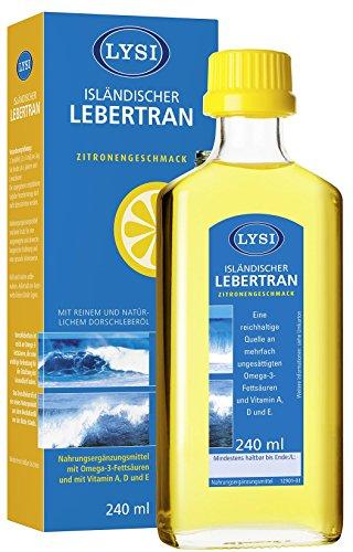 LYSI ISLÄNDISCHER LEBERTRAN mit den Vitaminen A, D und E, Zitronengeschmack, 240ml, Isländischer...