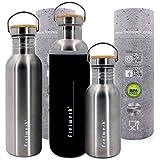freiwerk® Acciaio inossidabile Outdoor bottiglia bambù copertura copertura in neoprene 500 ml Einwandig