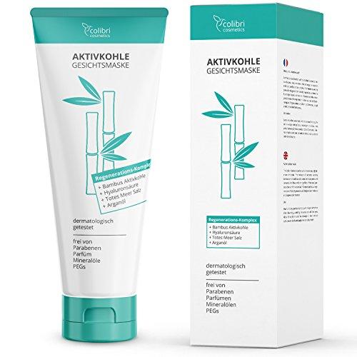 Aktivkohle Gesichtsmaske mit Detox Effekt - Reinigt die Poren und verwöhnt das Gesicht mit Totes-Meer-Salz, Arganöl, Hyaluronsäure und...