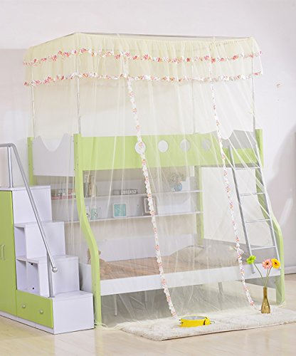 Wufeng letti a castello doppio strato tipo di pavimento zanzariere mosquito nets tenda a baldacchino ( colore : giallo , dimensioni : 1.9*1.35*2.7m )