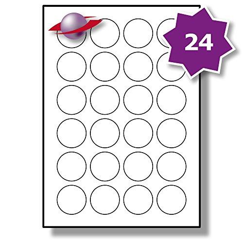 24 Pro Blatt, 10 Blätter, 240 Etiketten. Label Planet® A4 Runden Schlicht Weiß Matt Papier Etiketten Für Tintenstrahl und Laserdrucker 40mm Durchmesser, LP24/40 R.