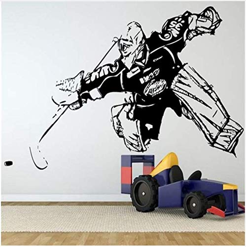 Eishockey Aufkleber Wintersport Applique Poster Vinyl Wandtattoos Dekoration Wandbild Hockey Aufkleber 56x72cm (Minion Hockey)