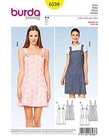 Burda 6538 Schnittmuster Träger-Kleid (Damen, Gr. 32 - 44) Level 2 leicht