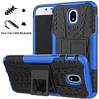 Galaxy J5 2017 Funda,LiuShan Heavy Duty silicona Híbrida Rugged Armor soporte Cáscara de Cubierta Protectora de Doble Capa Caso para Samsung Galaxy J5 2017 (5,2 Pulgadas SM-J530F) Smartphone(Con 4 en 1 regalo empaquetado),Azul