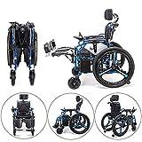 BQT Electric Rollstuhl Personal Walker Allrad-Elektro-Fahrzeug Ältere Behinderte Leicht Falten Intelligent Automatische Aluminium-Legierung Elektrischen Rollstuhl Mit Intelligenten Universal-Controller (Blau)