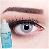 Farbige graue Crazy Fun Kontaktlinsen Motivlinsen contact lenses Zombie Grey Green 1 Paar perfekt zu Fasching, Karneval und Halloween. Mit gratis Behälter und 60ml Pflegemittel