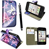 APPLE IPHONE 4 4S VARIOUS PU LEATHER MAGNETIC FLIP CASE COVER POUCH + STYLUS+SCREEN GUARD (Sparkling Butterfly Book)