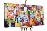 KunstLoft® XXL Gemälde 'Würfelglück' 200x120cm | original handgemalte Bilder | Abstrakt Quadrate Rot XXL | Leinwand-Bild Ölgemälde einteilig groß | Modernes Kunst Ölbild