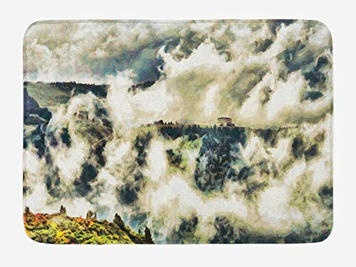Doormats Mystic Bath Mat, Fairy Landscape Illustration with House Among Clouds Greenery Trees Highland Print, Plush Bathroom Decor Mat with Non Slip Backing, 23.6 W X 15.7 W Inches, Green Beige -