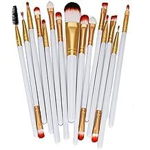 Tongshi 15pcs maquillaje cepillo conjunto herramientas maquillaje neceser Kit lana hacer arriba cepillo conjunto (Blanco)