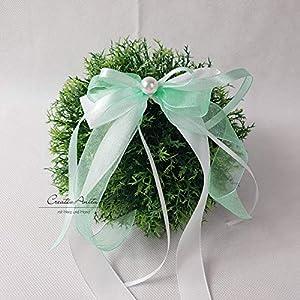 10 Stück Autoschleifen - Antennenschleifen - Spiegelschleifen Hochzeit Mint mit Weiß oder Creme