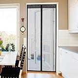 Jago - Mosquitera para puerta con fijación magnética - aprox. 90/1/210 cm - color negro