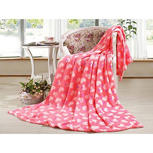 Bluelover Flanella coperta corallo rosa cuore biancheria da letto foglio trapunta invernale piatto