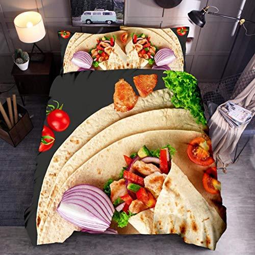 Anmou Bettbezug Set Neuartige Innovation 100% Mikrofaser Burrito Tortilla Runde Bettwäsche Quilt Tröster Bettbezug Set mit Pillow Shams,Grün,Königin:228X228Cm -