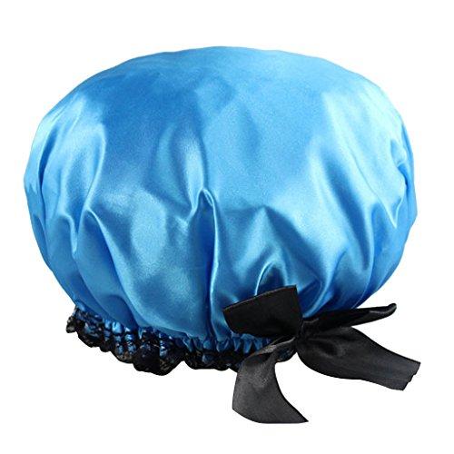Bonnet de Douche Elastique Etanche Bowknot pour Femme - Bleu
