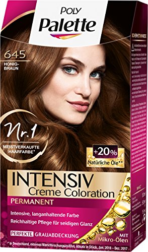 Poly Palette Intensiv Creme Coloration, 645 Honigbraun Stufe 3, 3er Pack (3 x 115 ml)