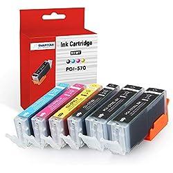 SMARTOMI-Multipack de 6 cartouches d'encre compatibles avec les modèles Canon PGI-570 XL noir et CLI-571 trois couleurs pour imprimantes CANON Pixma MG5750 MG5751 MG5752 MG5753 MG6851 MG6850 et MG7750