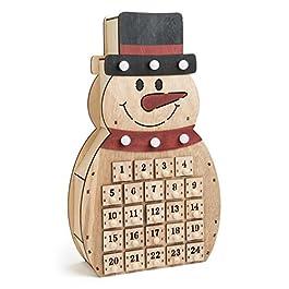 """'SSITG LED Calendario dell' Avvento """"Pupazzo di neve in legno per bambini Natale C"""