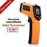 Infrarot Thermometer Pyrometer IR Digital Infrarot Laser Temperaturmessgerät -50 bis +380 ℃, Tragbarer Mini Berührungslos Thermometer mit LCD Beleuchtung von NBRen Batterie enthalten,Orange Schwarz