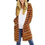 Damen top,Shopaholic0709 Damen Langarm Casual Mode Herbst Lange Hülsen-Gestreifte offene vordere Pullover-Strickjacken mit Taschen-Oberteilen