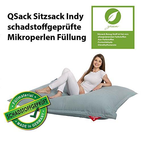 QSack Sitzsack Indy, mit Inlett und schadstoffgefprüfte EPS Toxproof Mikroperlen, 140x180 cm Indoor Sitzsack XXL, (blaugrau)