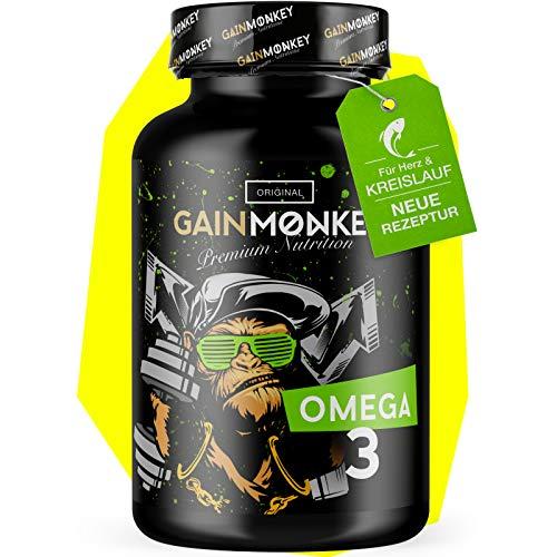 *NEU* Original GAINMONKEY® Omega 3 Kapseln | 100 hochdosierte Fischöl Caps 1000mg | 180mg EPA & 120mg DHA -