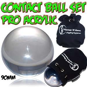 Balle de Contact 90mm (XL) Acrylique Transparente Jonglage Balle + Pochette Housse De Protection.