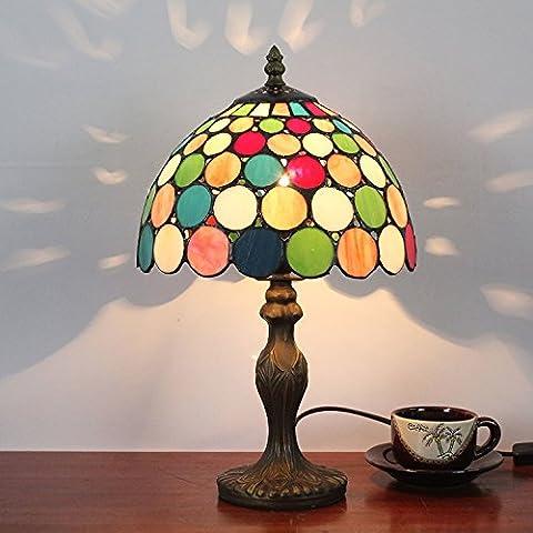 8 pollici punto colorato lampada da comodino pastorale lampada da tavolo Retro antico stile Moderno