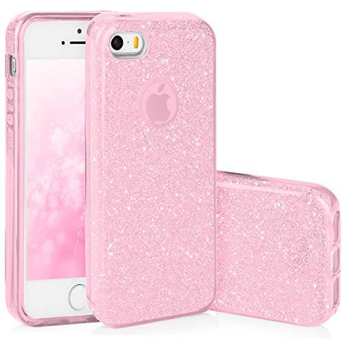 QULT Handyhülle kompatibel mit iPhone 5S iPhone SE iPhone 5 Hülle Glitzer Rosa glänzend Silikon Tasche TPU Case Bumper mit Glitter Design Sparkles Pink (EINWEG) - Iphone Rosa 5 Cover