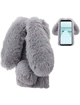 Plüsch Hülle Samsung Galaxy S9 Plus Flauschige Hasen Fell Hülle Handyhülle Für Mädchen Süße Winter Warm Weich...