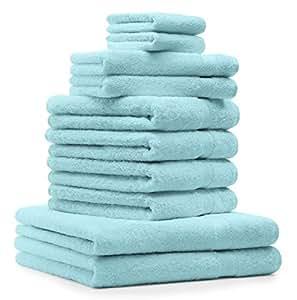 10 tlg. Badetuch Duschtücher Set Handtücher Classic Premium Farbe Türkis 100% Baumwolle 2 Seiftücher 2 Gästetücher 4 Handtücher 2 Duschtücher